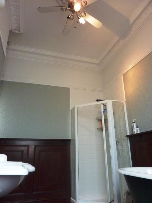 Plaster mouldings in bathroom