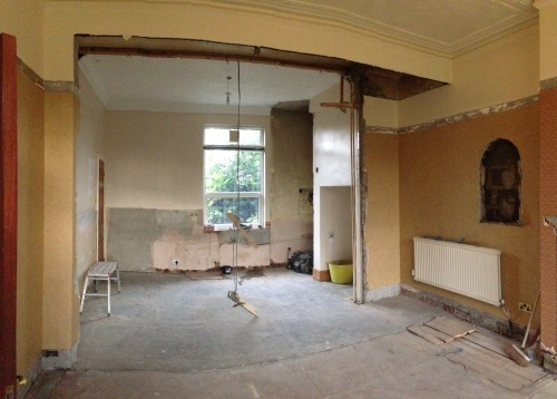Looking towards what will be the kitchen end