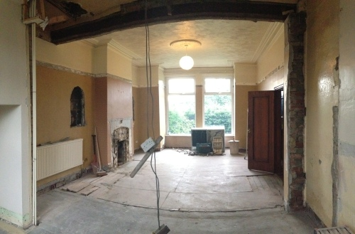 Looking towards what will be the dining area