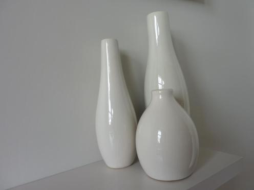Ceramic vases Farrow and Ball cornforth white