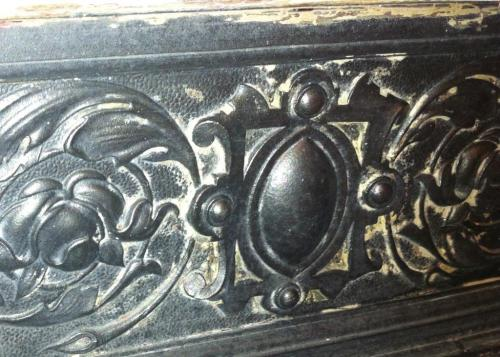 Cast iron fire detail painted