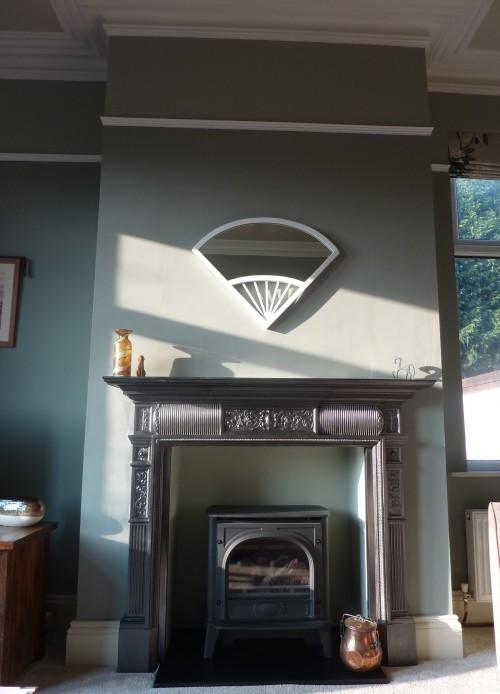 Farrow Ball Pigeon cast iron fireplace blue gray