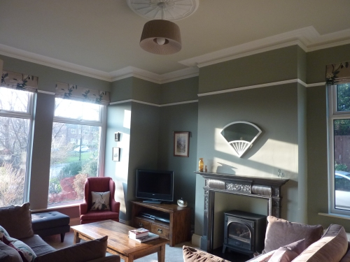 Edwardian Farrow and ball pigeon blue gray off white pointing