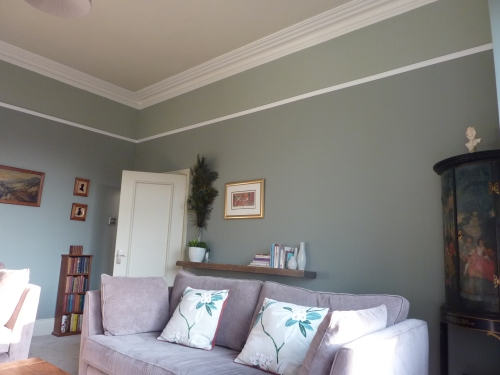 Sitting room Farrow and ball pigeon blue gray off white pointing