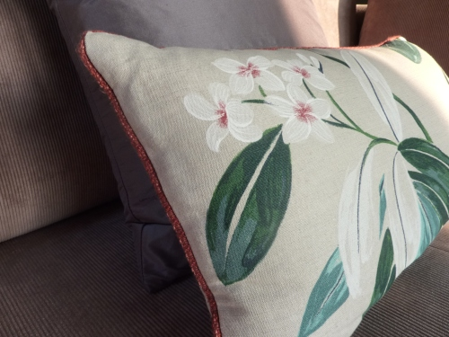 Sanderson Oleander and Chiswick red cushion