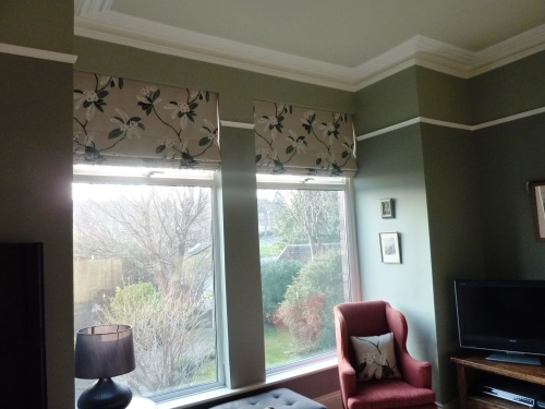 Sanderson Oleander roman blinds and chiswick red chair