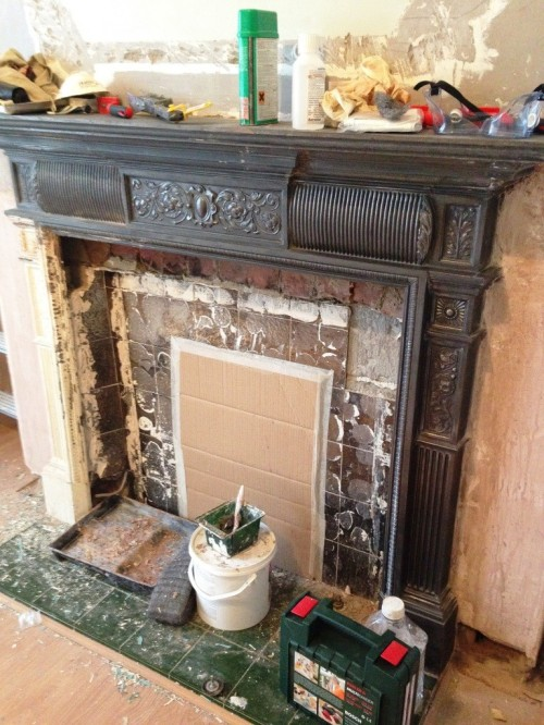 Cast iron period fireplace get paint off