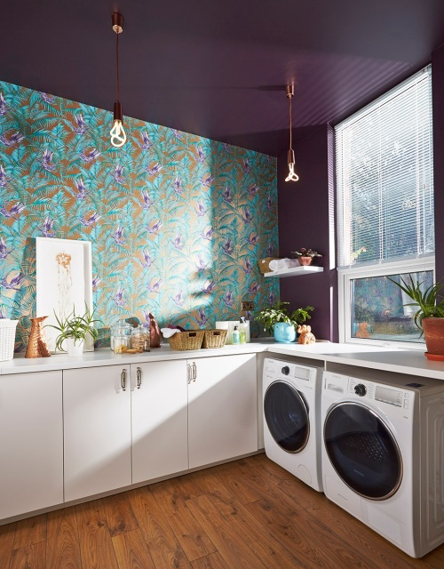Matthew Williamson sunbird wallpaper and Farrow and Ball Pelt