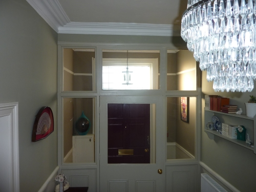 French gray, old white, slipper satin hallway
